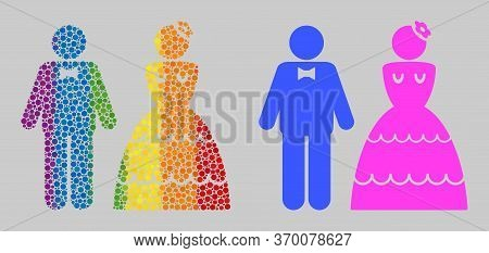 Wedding Pair Composition Icon Of Round Dots In Various Sizes And Spectrum Bright Color Hues. A Dotte