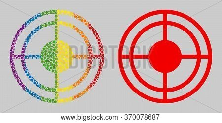 Bullseye Mosaic Icon Of Round Items In Various Sizes And Spectrum Colored Color Tinges. A Dotted Lgb