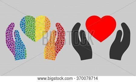 Romantic Heart Care Hands Mosaic Icon Of Round Dots In Different Sizes And Spectrum Colored Color To