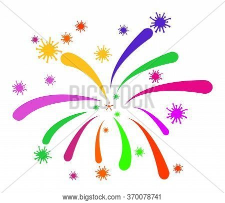 Viral Fireworks Vector Illustration. A Flat Illustration Iconic Design Of Viral Fireworks On A White