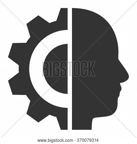 Cyborg Head Vector Illustration. A Flat Illustration Iconic Design Of Cyborg Head On A White Backgro