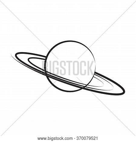 Hand Drawn Saturn On White Background. Vector Illustration.