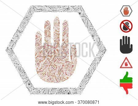 Line Mosaic Based On Abort Hand Icon. Mosaic Vector Abort Hand Is Created With Randomized Hatch Spot
