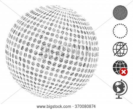 Line Mosaic Based On Abstract Dotted Sphere Icon. Mosaic Vector Abstract Dotted Sphere Is Composed W