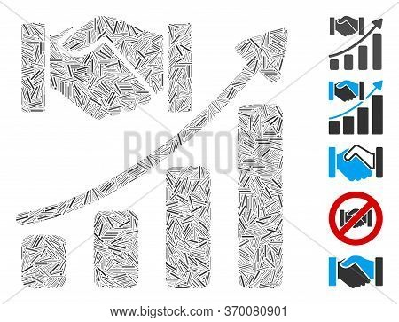 Dash Mosaic Based On Acquisition Hands Growth Chart Icon. Mosaic Vector Acquisition Hands Growth Cha
