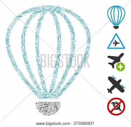 Hatch Mosaic Based On Aerostat Icon. Mosaic Vector Aerostat Is Designed With Scattered Hatch Items.