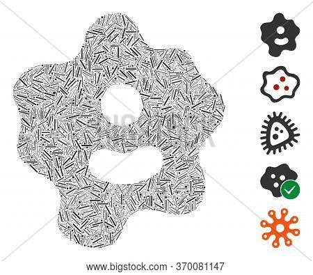 Line Mosaic Based On Ameba Icon. Mosaic Vector Ameba Is Composed With Scattered Line Spots. Bonus Ic