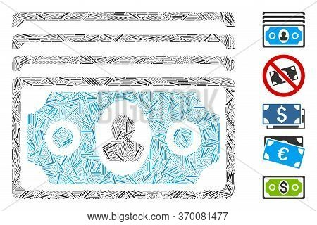 Line Mosaic Based On Banknotes Icon. Mosaic Vector Banknotes Is Designed With Scattered Line Items.