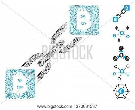 Line Mosaic Based On Bitcoin Blockchain Icon. Mosaic Vector Bitcoin Blockchain Is Composed With Scat