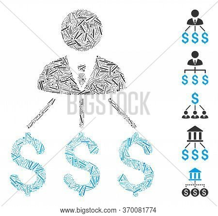 Line Mosaic Based On Businessman Expenses Icon. Mosaic Vector Businessman Expenses Is Composed With