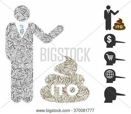 Dash Mosaic Based On Businessman Show Ito Shit Icon. Mosaic Vector Businessman Show Ito Shit Is Form