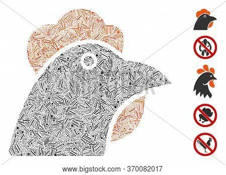 Line Mosaic Based On Chicken Head Icon. Mosaic Vector Chicken Head Is Composed With Random Line Spot