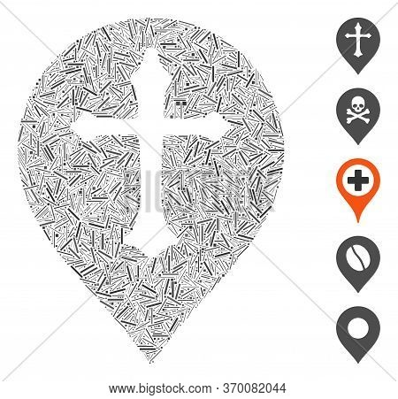 Dash Mosaic Based On Christian Cross Marker Icon. Mosaic Vector Christian Cross Marker Is Created Wi