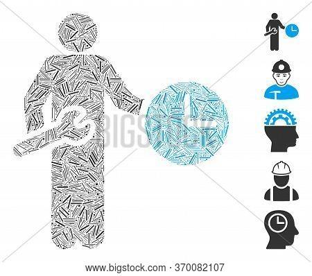 Line Mosaic Based On Clock Serviceman Icon. Mosaic Vector Clock Serviceman Is Formed With Randomized
