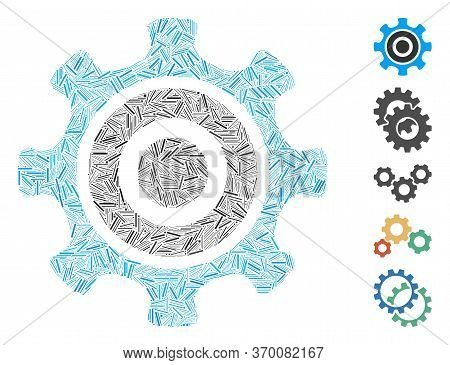 Line Mosaic Based On Cogwheel Icon. Mosaic Vector Cogwheel Is Designed With Scattered Line Dots. Bon