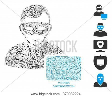 Line Mosaic Based On Computer Hacker Icon. Mosaic Vector Computer Hacker Is Composed With Scattered