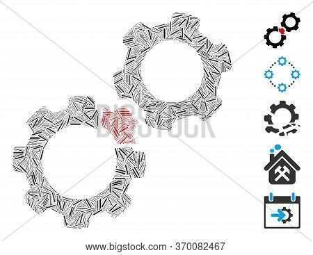 Hatch Mosaic Based On Damaged Gears Icon. Mosaic Vector Damaged Gears Is Formed With Random Hatch Do