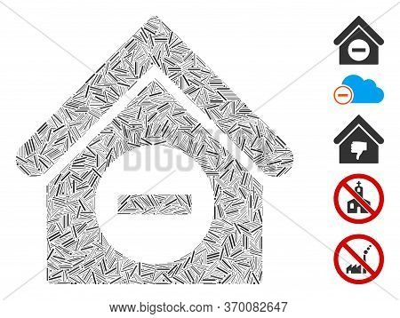 Hatch Mosaic Based On Deduct Building Icon. Mosaic Vector Deduct Building Is Designed With Scattered
