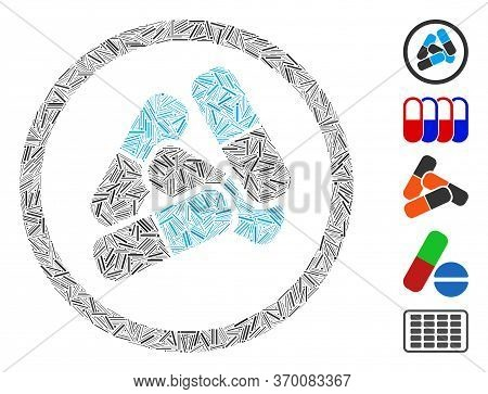 Dash Mosaic Based On Drugs Pills Icon. Mosaic Vector Drugs Pills Is Created With Randomized Dash Ite