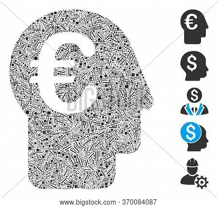 Dash Mosaic Based On Euro Banker Icon. Mosaic Vector Euro Banker Is Created With Scattered Dash Spot