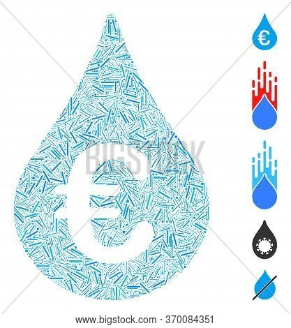 Line Mosaic Based On Euro Fuel Drop Icon. Mosaic Vector Euro Fuel Drop Is Composed With Random Line