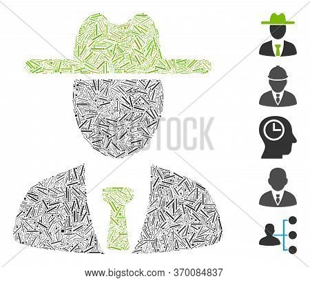 Line Mosaic Based On Farmer Boss Icon. Mosaic Vector Farmer Boss Is Created With Randomized Hatch Do