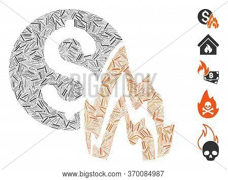 Line Mosaic Based On Fire Disaster Price Icon. Mosaic Vector Fire Disaster Price Is Designed With Ra