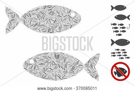 Line Collage Based On Fish Pair Icon. Mosaic Vector Fish Pair Is Created With Random Line Spots. Bon