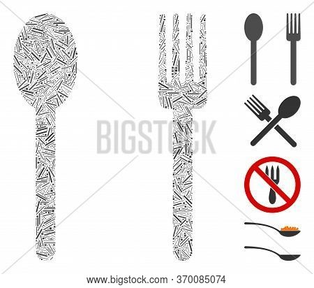 Line Mosaic Based On Fork And Spoon Icon. Mosaic Vector Fork And Spoon Is Designed With Random Line