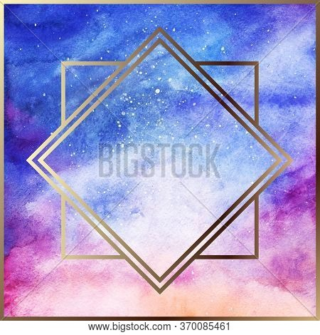 Watercolor Starry Space Galaxy Nebula Art Deco Golden Geometric Frame Border Abstract Background Tex