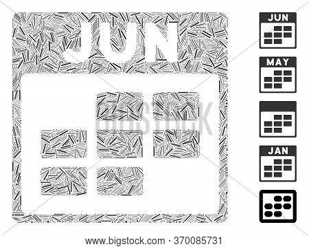 Hatch Mosaic Based On June Calendar Grid Icon. Mosaic Vector June Calendar Grid Is Created With Rand