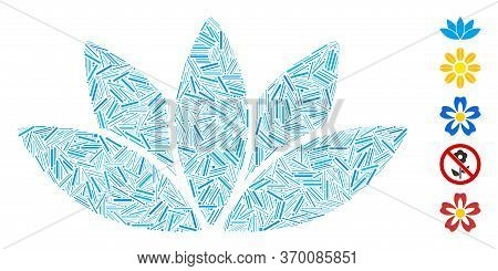 Hatch Mosaic Based On Lotus Flower Icon. Mosaic Vector Lotus Flower Is Created With Scattered Hatch