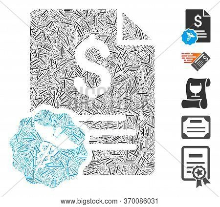 Line Mosaic Based On Medical Invoice Icon. Mosaic Vector Medical Invoice Is Created With Randomized