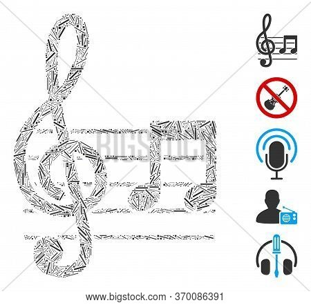 Dash Mosaic Based On Musical Notation Icon. Mosaic Vector Musical Notation Is Composed With Scattere