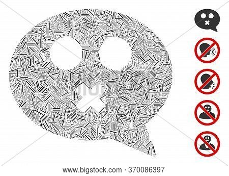 Line Mosaic Based On Mute Smiley Message Icon. Mosaic Vector Mute Smiley Message Is Composed With Ra