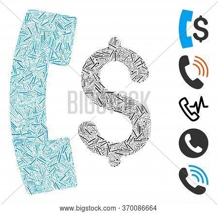 Dash Mosaic Based On Pay Phone Call Icon. Mosaic Vector Pay Phone Call Is Created With Randomized Da
