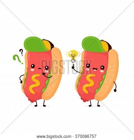 Cute Happy Smiling Hot Dog With Question Mark And Idea Lightbulb. Vector Flat Cartoon Character Illu