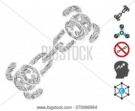 Dash Mosaic Based On Puppy Chain Icon. Mosaic Vector Puppy Chain Is Designed With Random Dash Elemen