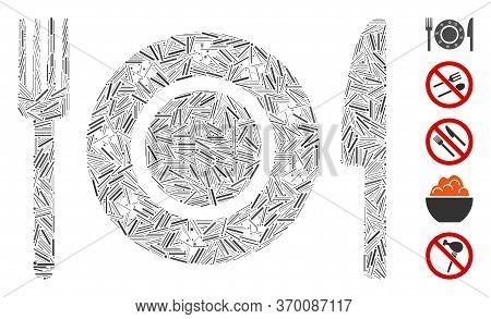 Dash Mosaic Based On Restaurant Tableware Icon. Mosaic Vector Restaurant Tableware Is Created With R