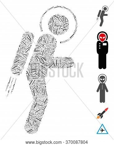 Line Mosaic Based On Spaceman Jet Suit Icon. Mosaic Vector Spaceman Jet Suit Is Designed With Scatte