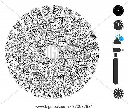 Hatch Mosaic Based On Stone Circular Blade Icon. Mosaic Vector Stone Circular Blade Is Designed With