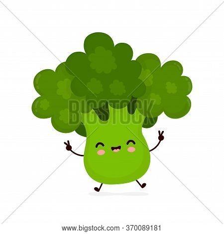 Cute Happy Smiling Broccoli Vegetable. Vector Flat Cartoon Character Illustration Icon Design.isolat