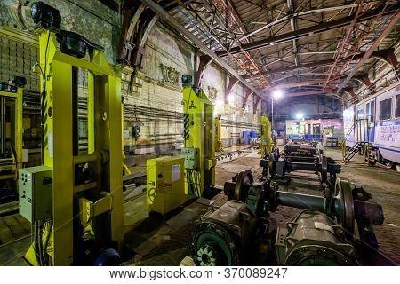 Moscow, Russia - April 15, 2018: Subway train metro depot Krasnaya presnya interior