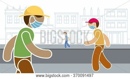Simplified Drawing Of People Wearing Blue Protection Mask, Against The Virus Walking On The Street O