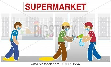 Simplified Drawing Of Supermarket Employee Wearing A Blue Mask Disinfecting A Customer's Hands With
