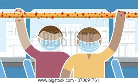 Simplified Drawing Of People Wearing Blue Protective Face Masks Standing Inside A Bus Holding Onto T