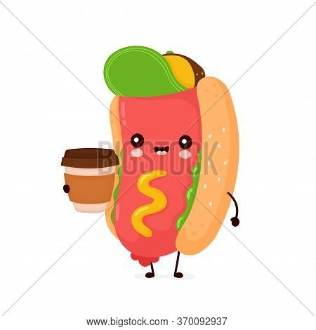 Cute Happy Smiling Hot Dog With Coffee Cup. Vector Flat Cartoon Character Illustration Icon Design.i
