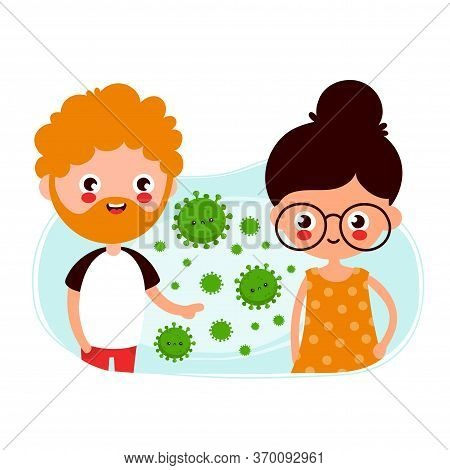 Cute Young Man And Woman Passing Coronavirus By Airborne Transmission. Vector Flat Cartoon Charater