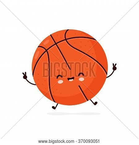 Cute Happy Smiling Basketball Ball. Vector Flat Cartoon Character Illustration Icon Design.isolated