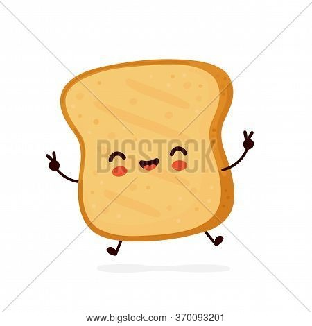 Cute Happy Funny Toast. Vector Cartoon Character Illustration Icon Design.isolated On White Backgrou